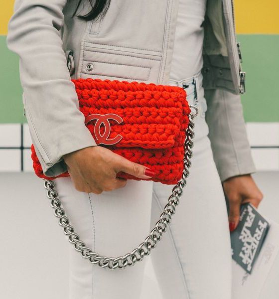 Rare bright red crocheted Chanel bag // 80+ Street Style Pics from New York City's Frieze Art Fair: (http://ny.racked.com/2015/5/19/8625495/frieze-art-fair-street-style?utm_content=buffer9644f&utm_medium=social&utm_source=pinterest&utm_campaign=racked#4744656)