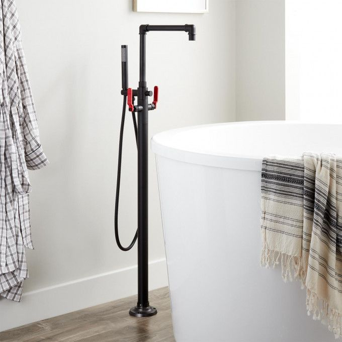 Edison Freestanding Tub Faucet With Hand Shower And Lever Handles