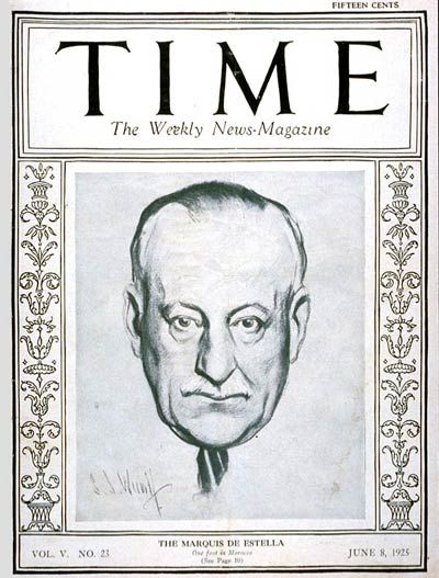 TIME Magazine Cover: General Primo de Rivera - June 8, 1925 - Spain - Generals - Military