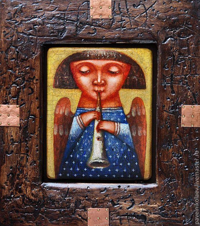 """Купить """"Ангел с дудочкой"""", живопись на дереве - синий, ангел, музыка, дудочка, игра, картина"""