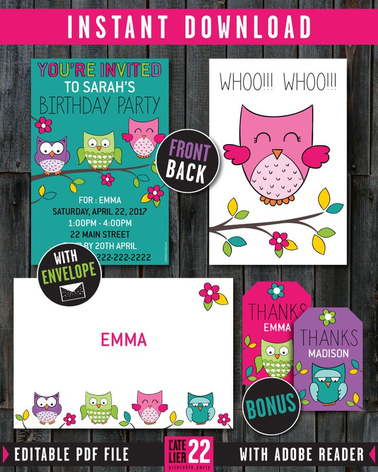 OWL Invitation Card. Envelope. Thank You Tags. LAtelier22.etsy.com