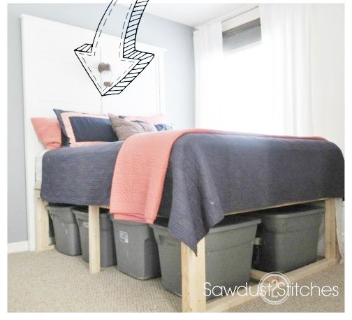 this tutorial of how to build under the bed storage bed frame project is a solution to simply to create a high bed frame that will allow you to store eight