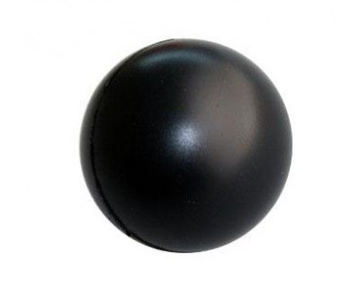 STRESS BALL BLACK – S6  Price includes 1 color, 1 position print   2 Color imprint available for an additional charge  Decoration option: Pad print  Print Area: 30mm (D)  Product Size: 63mm (D)
