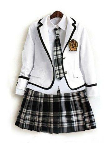 Japanese School Girl Uniform Grey Tartan Dress White Tie Costume Surcoat Cosplay