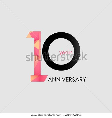 10 Years Anniversary with Low Poly Design, colored with geometric style