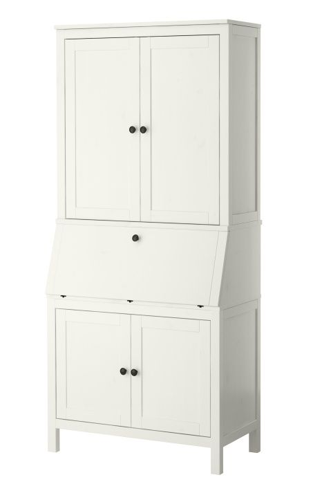 HEMNES Secretary with add on unit, white stain Stains, Furniture and Modern living rooms