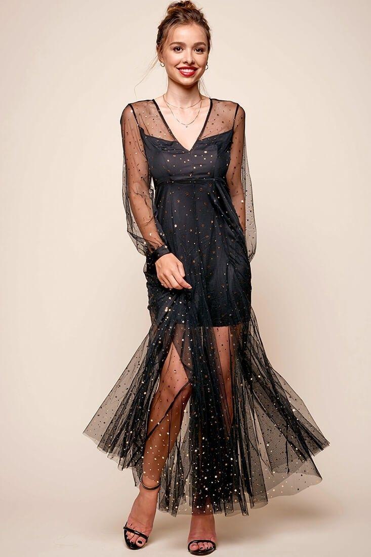 Megan Sheer Overlay Dress Black Sheer Overlay Dress Overlay Dress Dresses [ 1100 x 733 Pixel ]