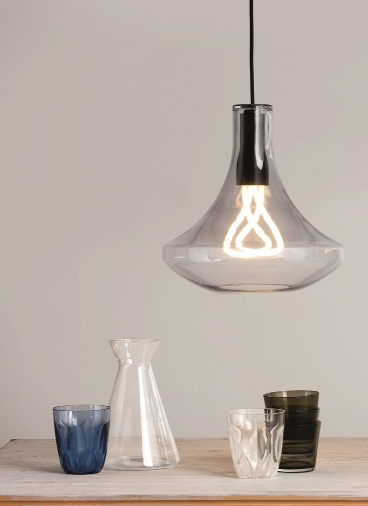 Plume Pendant Light with Plumen 001 Bulb, in Smoke Grey. Energy efficient and elegant lighting. £99. MADE.COM