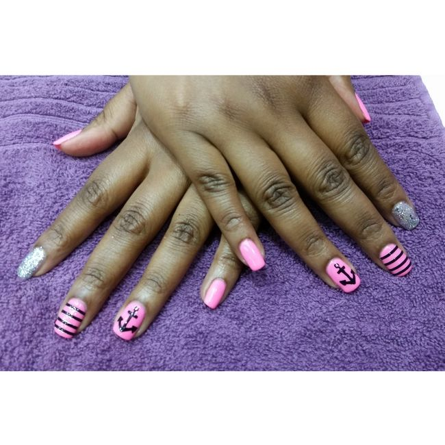 Natural Nail Art sculpture done with Harmony Gelish as well hand painted nail art with a sailor theme for Ricolene Maduramuthu The Nail Factor!