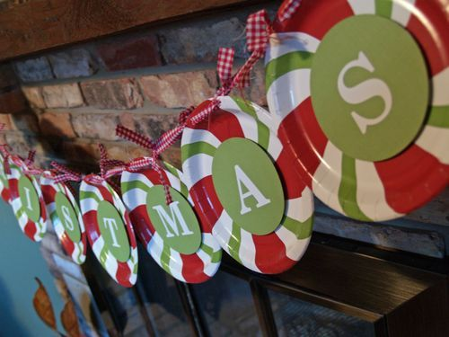 paper plates, what a cute ideaChristmas Banners, Birthday Banners, Plates Banners, Cute Ideas, Shower, Christmas Decor, Christmas Garlands, Merry Christmas, Paper Plates