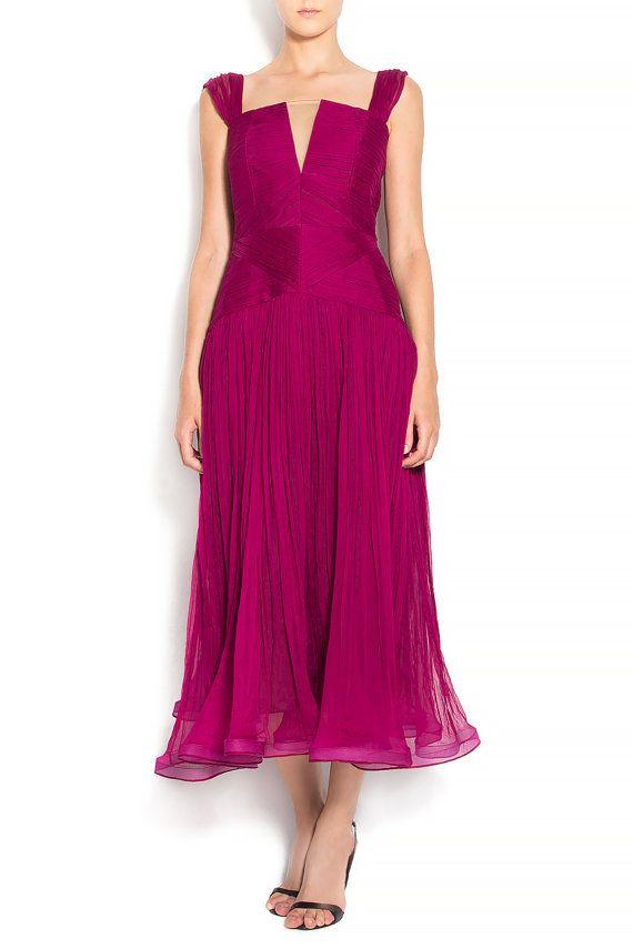Tea-length wedding gown pleated dress silk boho style - bohemian wedding dress - beach wedding dress - wedding gown