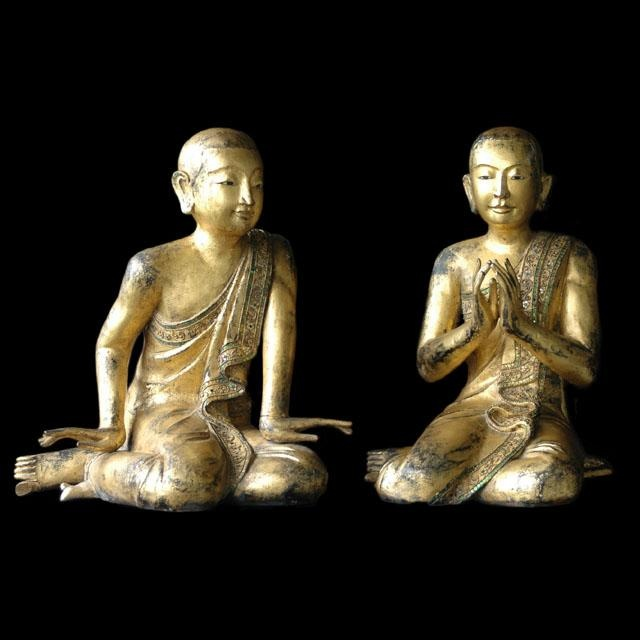 19th Cent, Mandalay Disciples of the Budda. All paths lead to me...let these serene spiritual practitioners share their spiritual attainment with you through the example of their elegant adoration.
