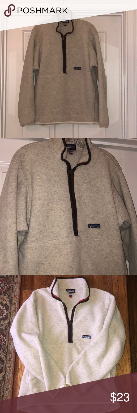 "Patagonia Fleece Pullover SZ M GUC. This is still in awesome condition - no stains or tears. Zipper works great! Beautiful neutral sand color. This is a unisex Medium— I'm 5'10"" and it fit great! Patagonia Tops Sweatshirts & Hoodies"