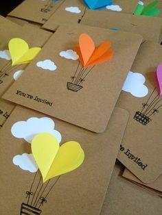 Hot Air Balloon Cards Balloon Heart by WaterHorseStudios on Etsy