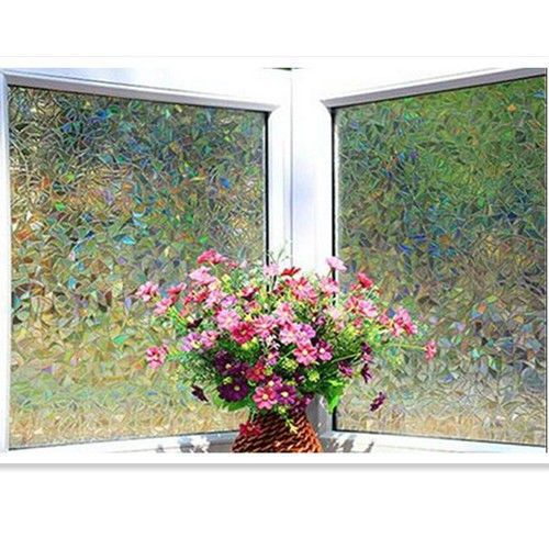 17.5/23in  Glass Window Film Decorative Home Decor 3D Laser Static Cling Film #Unbranded