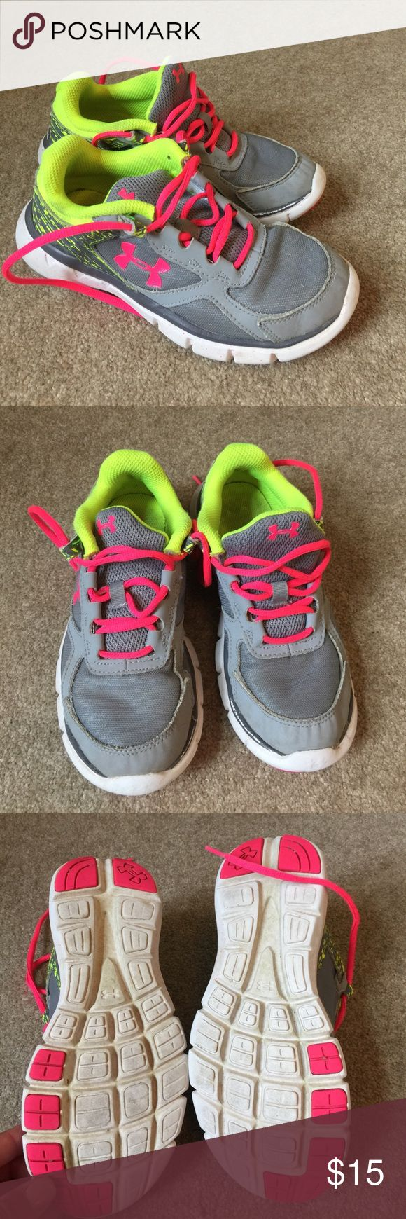 Grey & Neon Under Armour Tennis Shoes Lots of tread left on soles. NM Under Armour Shoes Sneakers