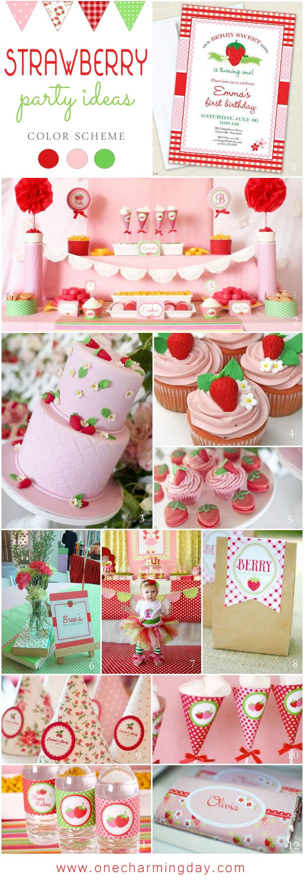 A strawberry themed party is a great choice for a girl's party or a fun, summer celebration. The bright red, sweet pink, and lush green colors of this lovely, s