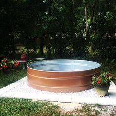 copper painted stock tank pool