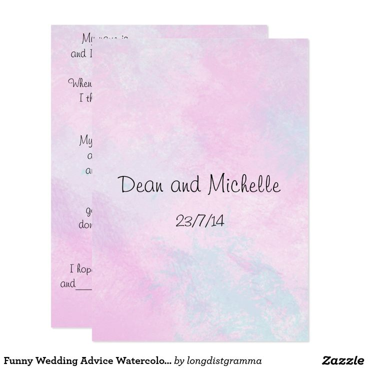 Funny Wedding Advice Watercolor Comment Cards