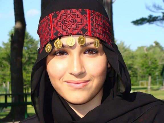 A beautiful Palestinian girl in traditional-headdress - Image by Seeds_of_Peace