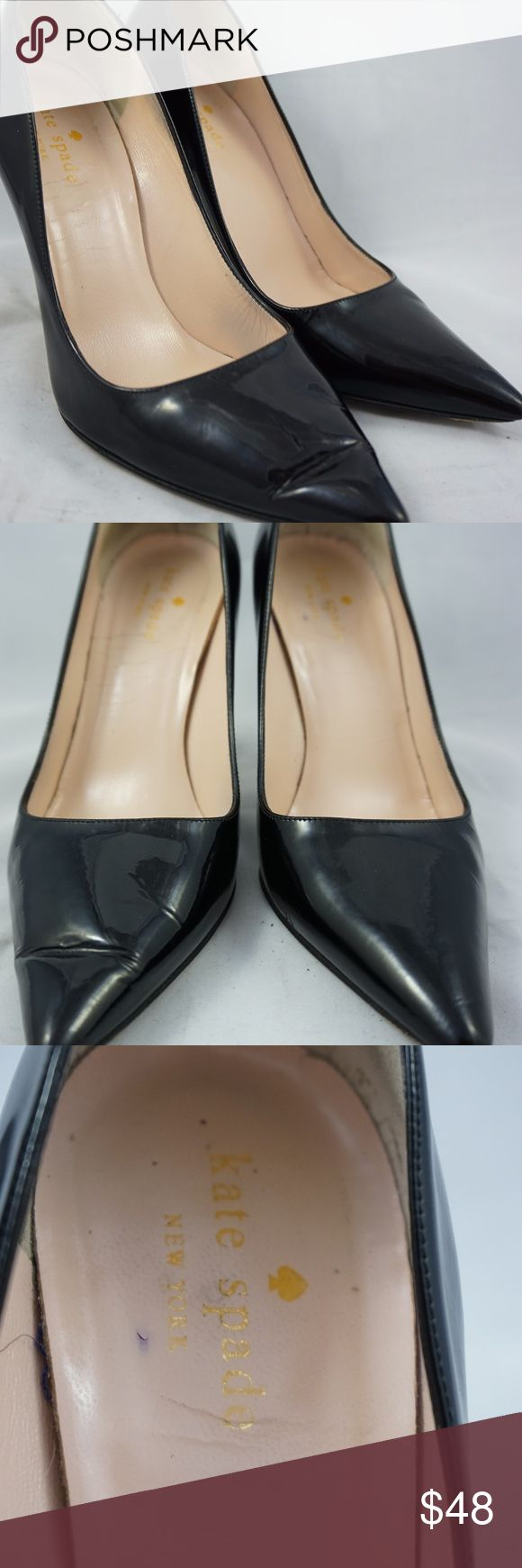"""Kate Spade Point Toe Black Patent Pumps 6.5B Kate Spade black patent point toe pumps for sale. The heels are in bad condition and would be recommended to get them replaced. The insoles show heavy signs of wear and has creases on the pad. The top leather is in good condition with no major issues.   Size: 6.5B Length: 9"""" from back of heel to front of toe Width: 3"""" at widest part of soles Heel: 3.75""""  I will ship within 24 hours.   Thank you kate spade Shoes Heels"""