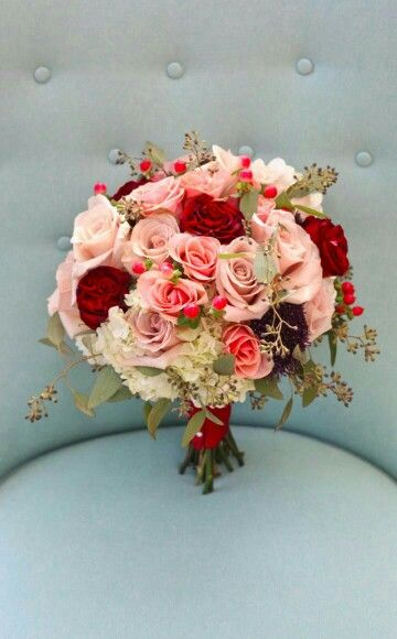 Peach Roses, Dusty Pink Roses, Red Roses, Hydrangea, Burgundy Scabiosa, Green Seeded Eucalyptus Wedding Bouquet