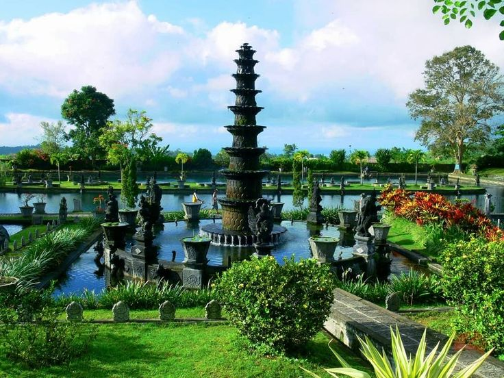 Tirta Gangga Park, a beautiful park with cool temperature in particular nighttime or morning time completed with the huge water fountain and wide pond located.