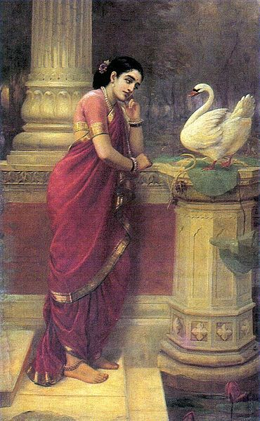 PAINTINGS GALLERIES: RAJA RAVI VARMA : Displaying the Modesty of Women