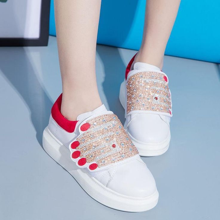 Womens Fashion Mixed Color Sequins Slip On Sports Sneaker Outdoor Trainer Shoes
