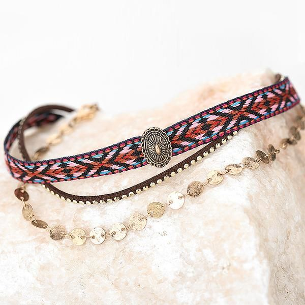 Aztec Gold 3-in-1 Choker | Multilayered collar | Leather | Golden Chain | Braided ethnic necklace | Boho chic | Bohemian | Gipsy | Hippie | Nomad |