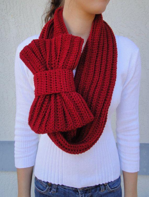 Deep Red / Crimson Bow Infinity Scarf, Chunky Neck Warmer / Cowl, crocheted, handmade--READY TO SHIP via Etsy