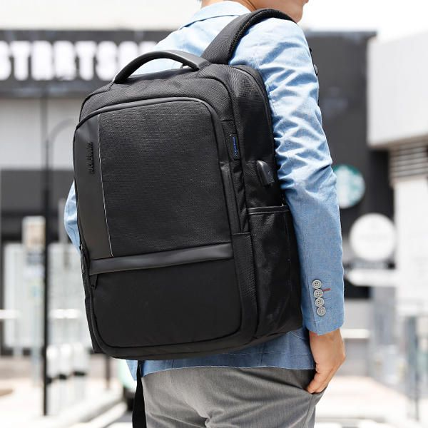 Men 18 inch Anti Shock Waterproof Backpack Casual Travel Bag With USB Charging P - US$49.53