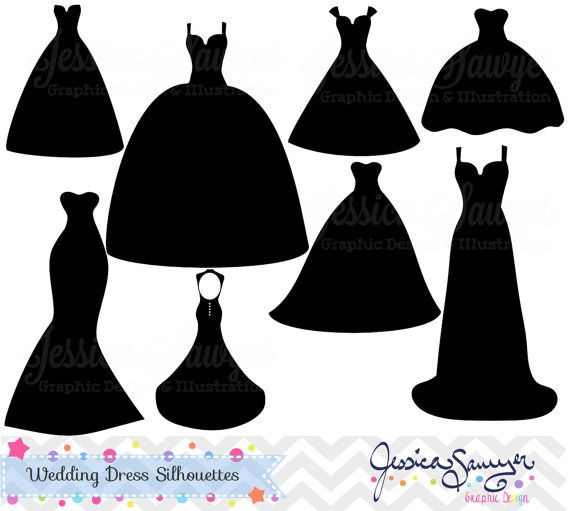 instant download wedding dress clipart silhouette