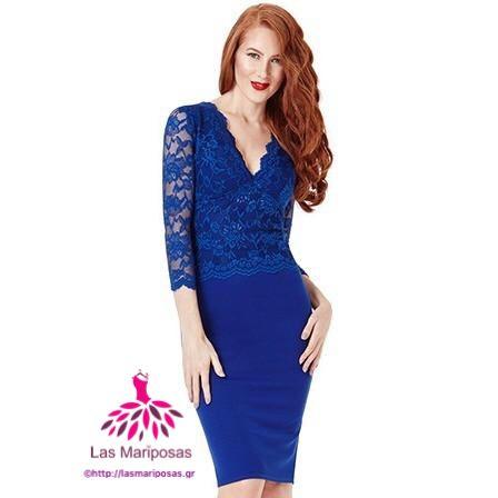 Kate Midi royal blue δαντελένιο φόρεμα