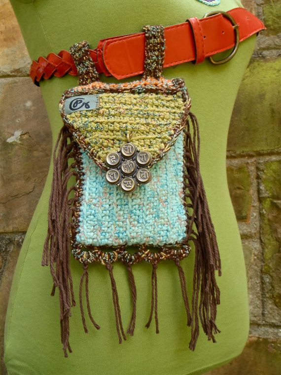 fringed purse HIP bag belt BAG  fannypack  buddhist MANTRA hippie accessory crochet fairy belt bag hand made via Etsy