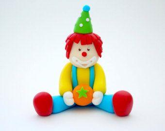 Fondant Clown. Fondant Circus Cake Topper. Circus birthday cake topper