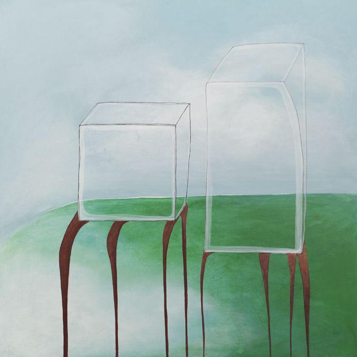 'Op hoge benen door het gras',                       115 x 115 cm, acryl op linnen,                          950,00 euro