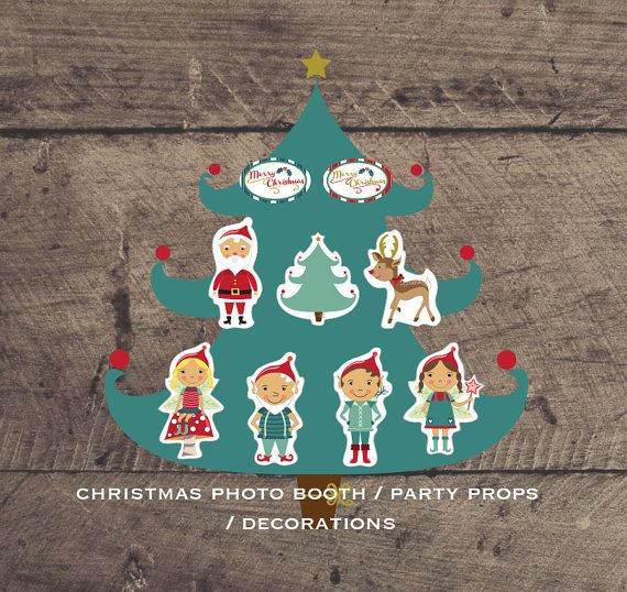Printable Christmas Photo booth party props. by louandboo on Etsy