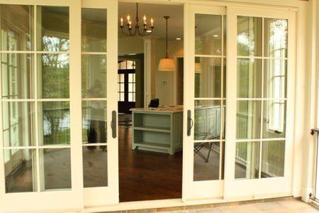 Love the sliding doors onto a screened porch design for Sliding glass doors onto deck