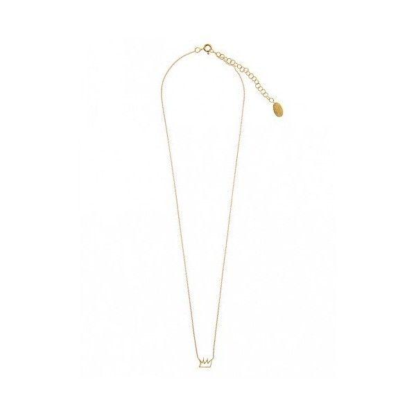 Πριγκιπω necklace via Polyvore featuring jewelry, necklaces, pendants & necklaces, crown pendant necklace, crown pendant, gold plated jewelry and pendant jewelry