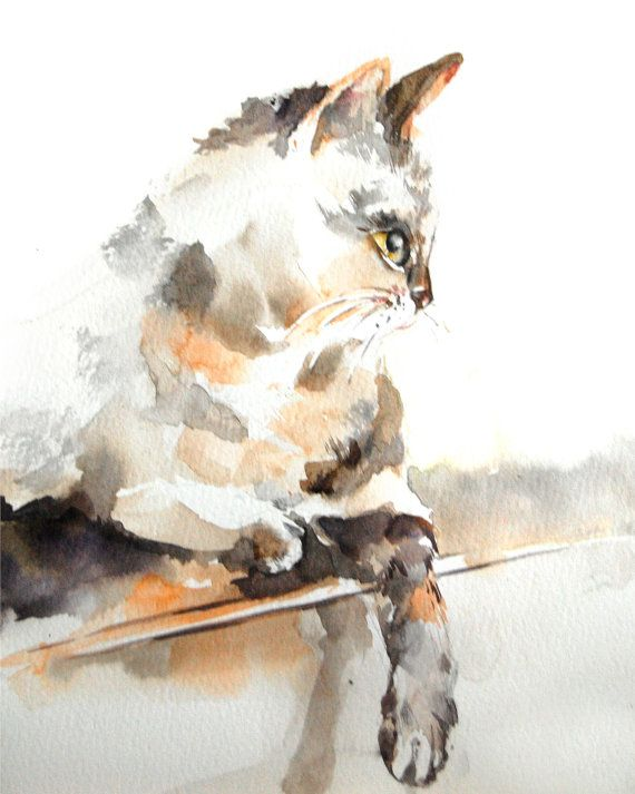 Chat aquarelle Art Print, Watercolor Art, Art Cat, Brown, Art pariétal