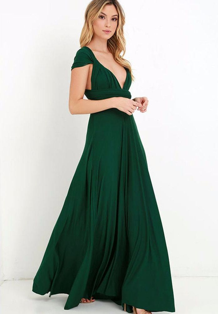 Smaragd groene maxi jurk