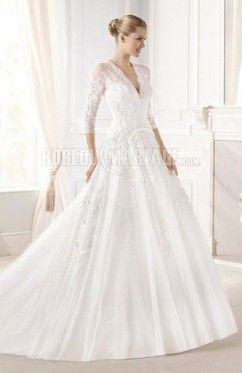 A-ligne robe de mariée classique manches longue dentelle organza