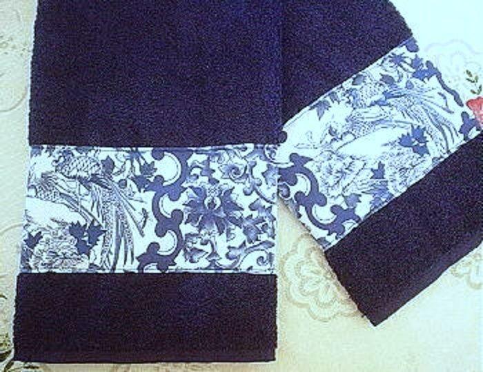 2 / RALPH LAUREN PORCELAIN BLUE fabric Custom Decorated NAVY BLUE Hand Towels  #RalphLaurenfabric