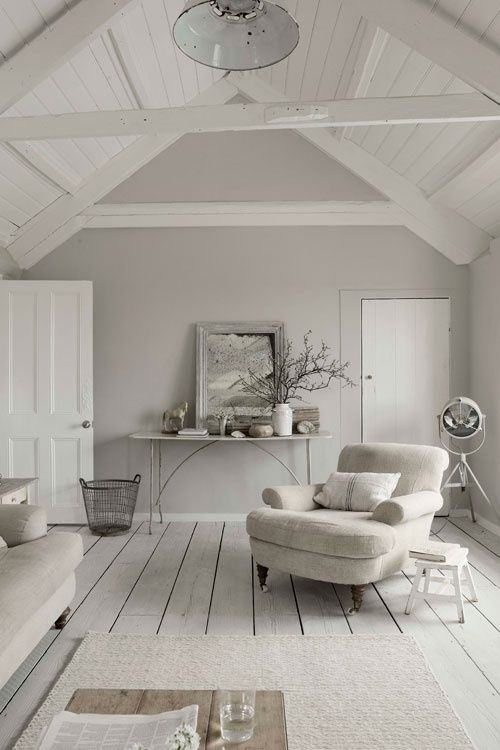 Love This All White Attic Room With White Painted Hardwood Floors, White  Wood Beam Ceiling, Vintage Lighting.