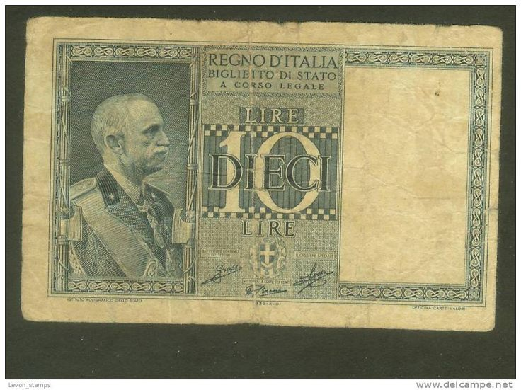 Italy ,10 Lire ,1935/39, Biglietto Di Stato