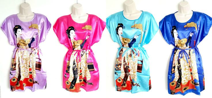 Nightdress gown sexy loungewear Satin lingerie nightwear chinese design UK 8-14 #satinnightwear #womenslingerie #chinesekimono #sexylingerie
