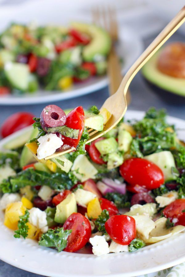 Greek Kale Salad with Avocado | The Real Food Dietitians | http://therealfoodrds.com/greek-kale-salad-avocado/