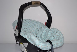 How to make a slip-cover for the car seat without altering the original cover or padding  This comes with a FREE pattern and instructions that you print off.  Best tutorial I've found that actually has the pieces available.