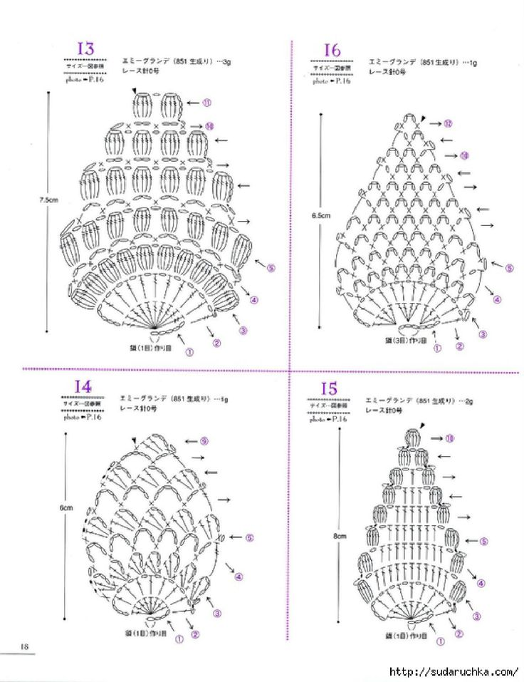 Asahi original lacework pineapple pattern Lace, applique and edgings in pinapple pattern. #Japanese #crochet #book